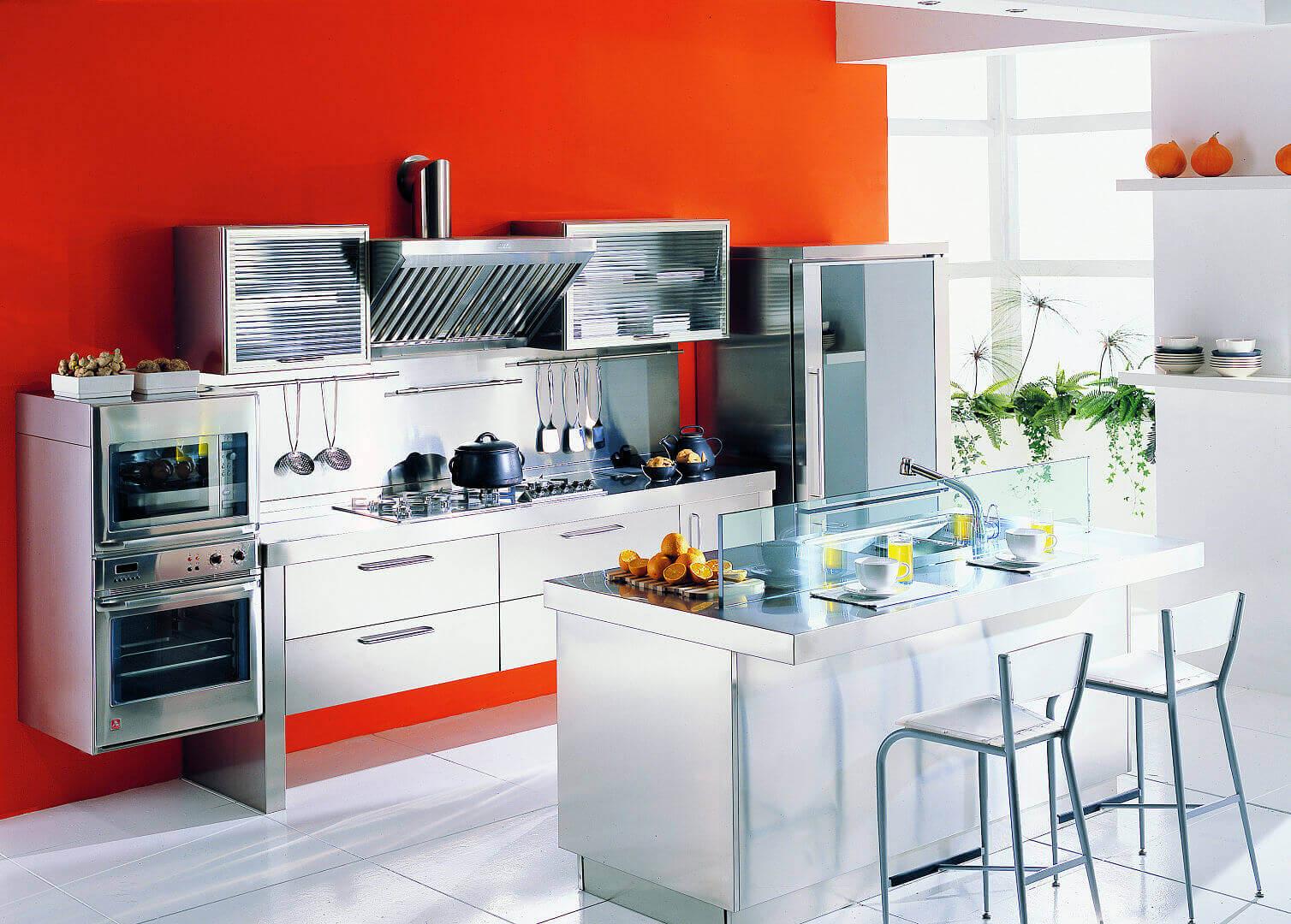 Arca Cucine Italia - Cucina Domestica in Acciaio Inox - Spring