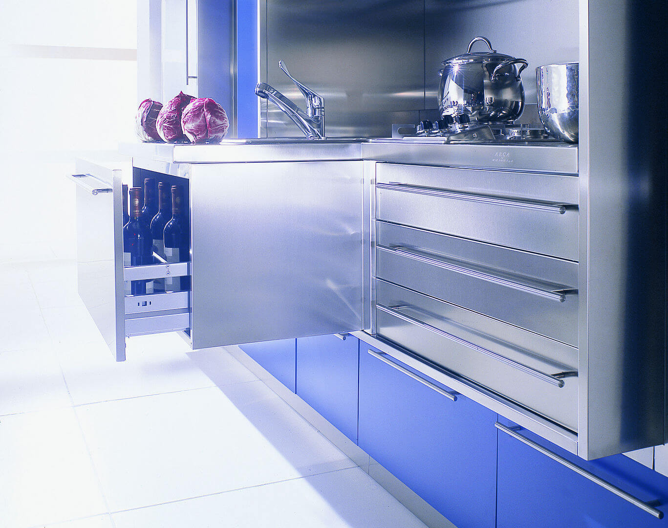 Arca Cucine Italy - Domestic stainless steel kitchens - Wall - Litter bin to Extraction Under Kitchen Sink