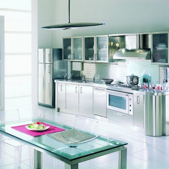 Arca Cucine Italia - Cucina Domestica in Acciaio Inox e Vetro - Wagon