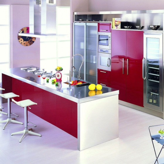 Arca Cucine-Italien - Küchenmagd in Edelstahl und Glas - Oper