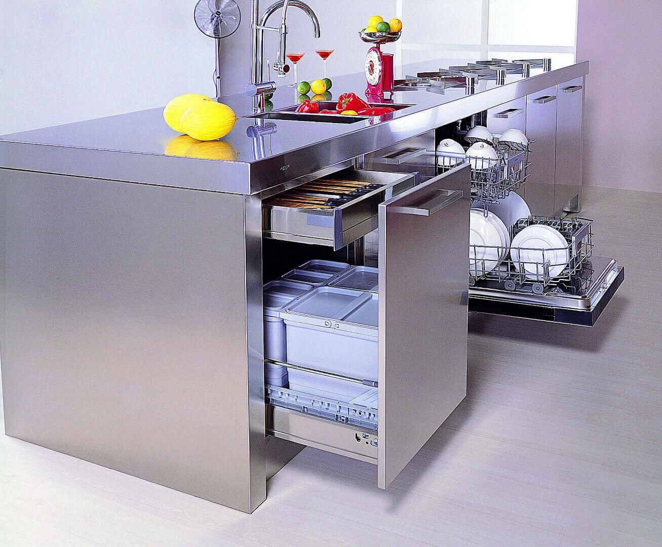 Arca Cucine Italia - Cucina Domestica in Acciaio Inox e Vetro - Opera - Cestone Estrazione Totale