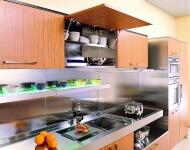 Arca Cucine Italia - Cucina Domestica in Acciaio Inox e Teak - Elle