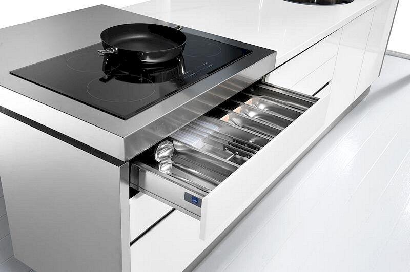 Arca Cucine Italia Cucine Domestiche in Acciaio Inox Trend Cassettiera