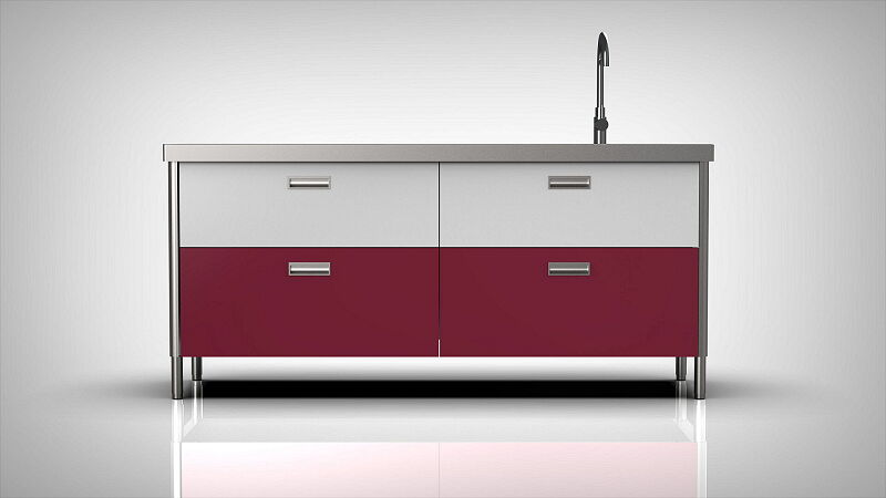 Arca Italian Kitchen Levanto Form 190 Drawers Basin White Fuchsia