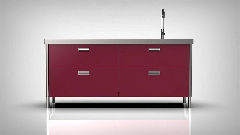 Arca Italian Kitchen Levanto Form 190 Drawers Basin Fuchsia