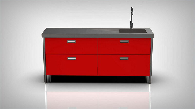 Arca Italian Kitchen Levanto Form 190 Drawers Basin Red