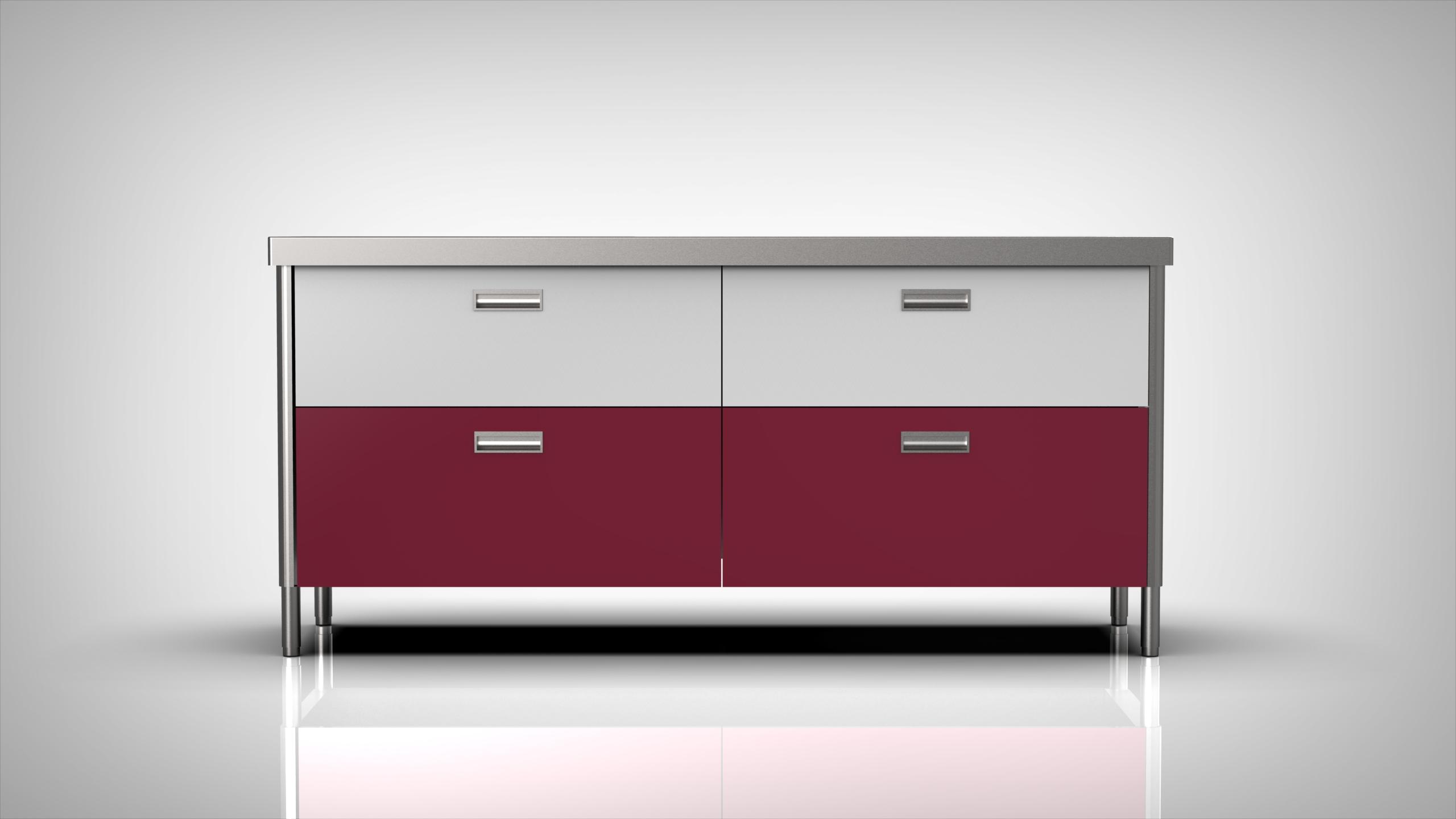 Arca Cucine Italy - Levanto - Modulo 190 - drawers - Sink 190 - Black and Fuchsia