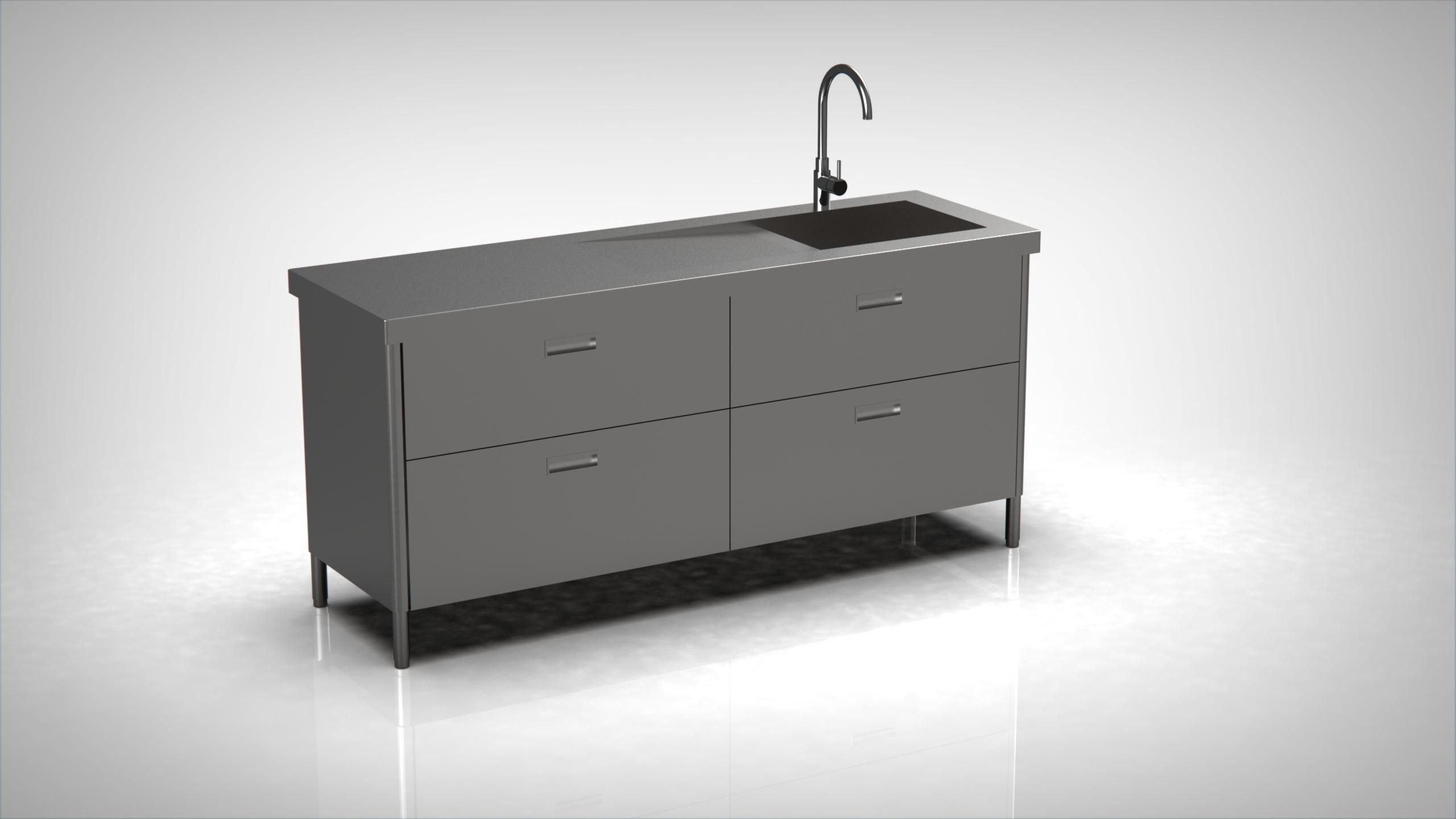 Arca Cucine Italy - Levanto - Modulo 190 - drawers - Monobloc stainless steel kitchen sink 190