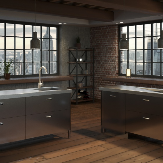 Arca Cucine Italy - Domestic stainless steel kitchens - Monoblock Inox - Levanto